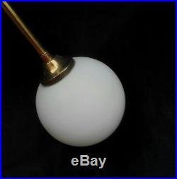 Rare Mid Century Brass Opal Glass XL Chandelier Sputnik Stilnovo Arredoluce 1950