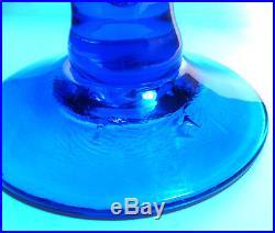 Rare Mid Century Modern Blenko Husted 6212L Art Glass Turquoise Blue Decanter