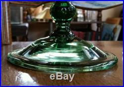 Rare Pair Mid Century Free Blown Apothecary Jars Empoli Art Glass