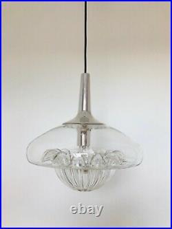 Rare Peill & Putzler Glass Pendant Lamp Mid Century Modern 1970s
