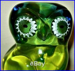 Rare Salviati Murano Vaseline Uranium Sommerso Italy Art Glass Owls 8-3/8