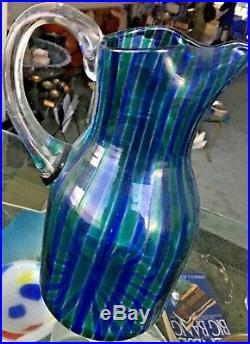 Rare VENINI Midcentury A CANNE Pitcher Gio PONTI Italian Murano Glass