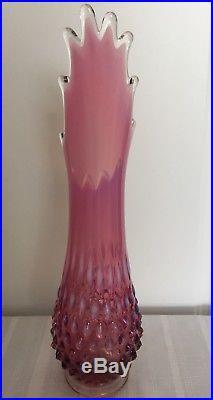 Rare Vintage Fenton Opalescent Plum Hobnail Swung Vase 12 3/4 Mid-century