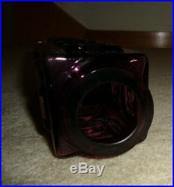 Rare Vintage Mid-Century Whitefriars Geoffrey Baxter Aubergine Greek Key Vase
