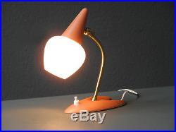 Rare small italian Mid Century Modern streamline bedside lamp with glass shade