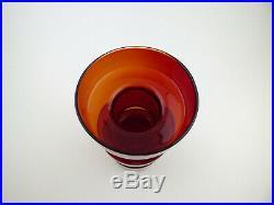 Riihimaki red glass'Cog' vase Riihimaen Lasi Finland mid century modern retro