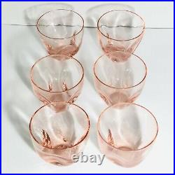 Russel Wright Mid Century Pink Pinch Low Ball Glasses Imperial Glass Lot Of 6
