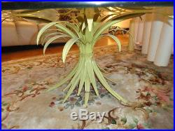 SHABBY MID CENTURY TOLE PALM LEAF COFFEE TABLE with GLASS TOP ITALY