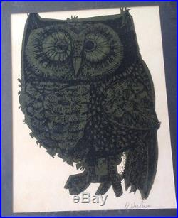 SIGNED © 1967 David Weidman'67 Midcentury GREEN OWL Serigraph FRAMED with Glass