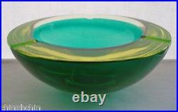 SLEEK Mid Century MURANO 3+lbs Glass BOWL or ASHTRAY Vaseline GLOWS in BLACKLITE