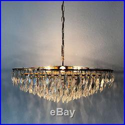 STUNNING XL Mid Century KINKELDEY Crystal Glass 8-Ligths CHANDELIER Pendant Lamp