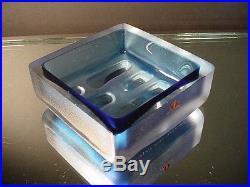 Scarce Iittala Tapio Wirkkala Ice Blue Satin Glass Dish / Ash Tray Mid-Century