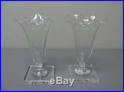 Scarce Pair Vintage Steuben Crystal Mid-century Cornucopia Vases