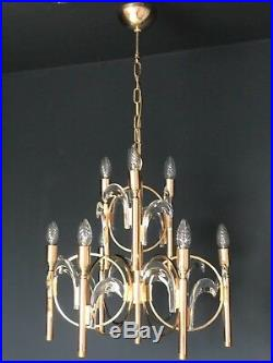 Sciolari Gilt Brass and Crystal Glass Chandelier Mid Century Modern Italy 1970s