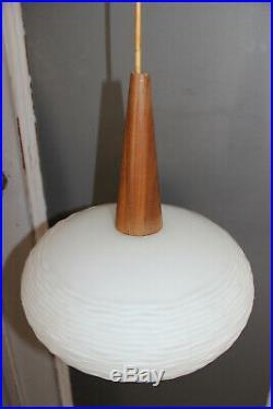 Set 3 Mid century Philips louis kalff opaline white glass teak pendant lamp