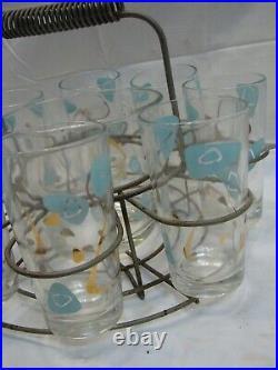 Set Mid Century Modern Atomic Water Drinking Glasses Ice Bucket & Wire Caddy