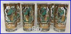 Set Of 8 Vintage Fred Press Gold Turquoise Trojan Horse Glasses Mid-Century Mod