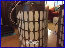 Set Pair 2 Vtg Mid Century Atomic Glass Slip Shade Wall Light Sconce