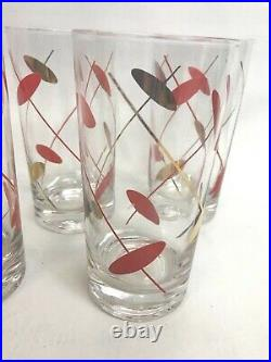 Set Vintage Glasses Mid Century Drinking Cocktail Tumblers Highball MCM Red Gold