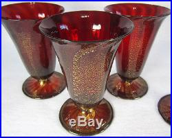 Set of 4 Mid Century Murano Venetian Glass 12oz Tumblers Red Glass with Gold