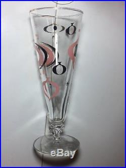 Set of 8 Mid Century Libbey Pilsner glasses Atomic Pink, Black, Gold