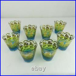 Set of 8 VTG Mid-Century Glasses Peacock Colorful Fabulous! Cera 22k Barware