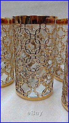 Set of 8 Vtg Mid Century Imperial Glass Golden Link 24K Gold Tumblers