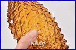 Shapely MID CENTURY Empoli Amber DIAMOND Point 23 GENIE BOTTLE DECANTER Italy