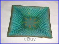 Signed Jane Glass Modern Midcentury Abstract Enamel Copper Art Plate Gatlinburg