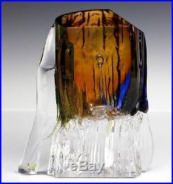 Signed Kosta Unik Ann Warff Swedish Mid Century Modern Art Glass Sculpture LZO