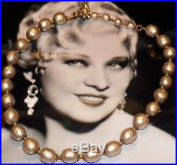 Signed Miriam Haskell Classic Glass Baroque Pearl Old Vtg. MID Century Necklace
