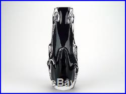 Signed Val St Lambert mid century dark purple glass vase cased in clear glass