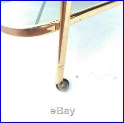 Splendid Mid century Bar Cart Gold brass & smoke Glass italy trolley 1950s