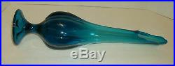 Stretched Glass Vase 18 1/2 Tall Vintage Mid Century Teal Blue Beautiful
