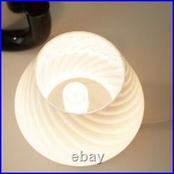 Striped Baby Mushroom Lamp, Murano Style Glass Lamp, Bedside Table Lamp