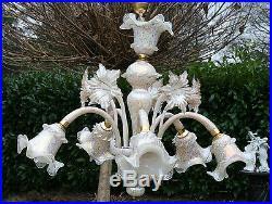 Stunning Italian Venetian Murano glass 1970 mid century Chandelier 5 arms no1