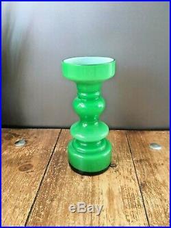 Superb 60's 70's Green Scandinavian Hooped Cased Glass Vase MID Century Swedish