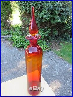 TALL 19.5 BLENKO GLASS DECANTER Amberina Tangerine MID CENTURY Vtg HUSTED MYERS