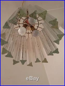 TERRIFIC Mid Century Modern Italian Glass Venini Trilobe Chandelier