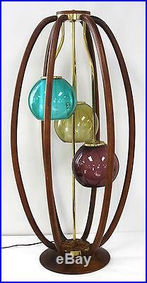 THE BEST MID CENTURY DANISH MODELINE TABLE LAMP 3 COLORED GLASS BALL SHADES