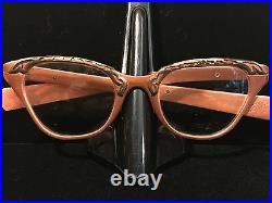 TURA Eyewear Rose Gold / Copper Aluminum Embellished Cat Eye Glasses, 1950s