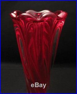 Tall & Elegant Vintage Italian Murano Radiant Red Art Glass Vase MID Century