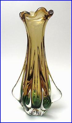 Tall Sleek Vintage Italian Murano Green & Yellow Art Glass Vase MID Century