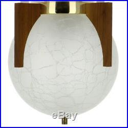 Thomas Industries Moe Light Mid Century Flush Mount Teak Crackle Glass Fixture