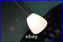 Tulip Opaline Glass Antique Modernist Mid Century Light Pendant Industrial