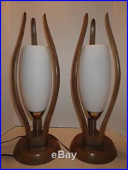 Two Mid-Century Modern Atomic Ames Style Bent Wood & White Glass Tulip Lamps