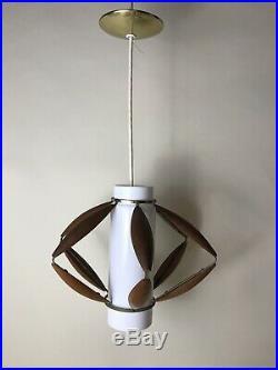 VINTAGE HANGING LAMP MID CENTURY MODERN TEAK Wood GLASS LIGHT PENDANT MCM