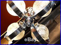 Vintage MID Century Modern Atomic Sputnik Chandelier Chrome 4 Arm Crackle Glass