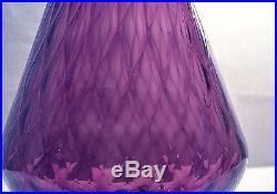 Vintage Mid-century Modern Purple Amethyst Italy Glass 20 3/4 Decanter -empoli