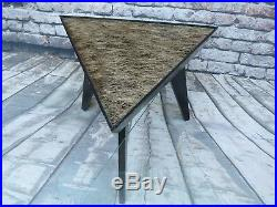 VINTAGE MID CENTURY MODERN SET OF 6 TRIANGLE TABLES with GLASS TOPS MANY LAYOUTS